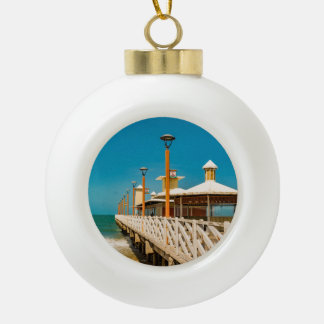 Breakwater Walkway at Fortaleza Beach Ceramic Ball Christmas Ornament