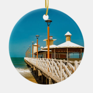 Breakwater Walkway at Fortaleza Beach Ceramic Ornament