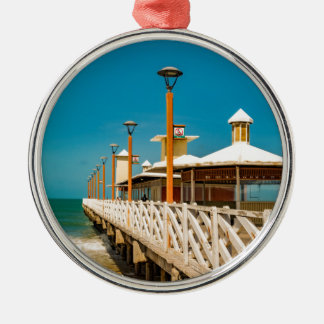 Breakwater Walkway at Fortaleza Beach Metal Ornament