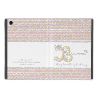 Breanna girls B name and meaning pastel hued case