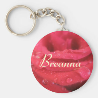 Breanna Red Rose petals Name Gift Key Ring