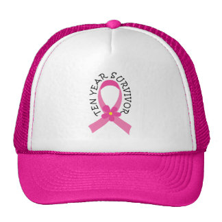 Breast Cancer 10 Year Survivor Pink Ribbon Gift Cap