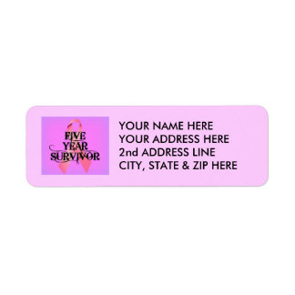 Breast Cancer 5 Year Survivor Return Address Label