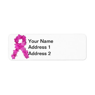 Breast Cancer Awareness Flower Ribbon Return Address Label