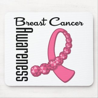 Breast Cancer Awareness Gemstone Ribbon Mouse Pads