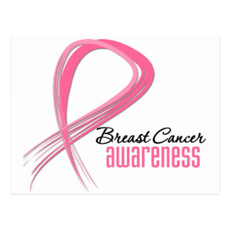 Breast Cancer AWARENESS Grunge Pink Ribbon Post Card