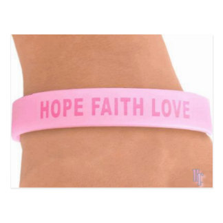 Breast Cancer Awareness (hOPe,FaITh,LOve) Postcard