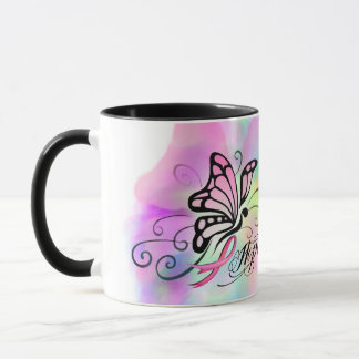 breast cancer awareness, hope pink ribbon design mug