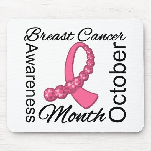 Breast Cancer Awareness Month Gemstone Ribbon Mousepad