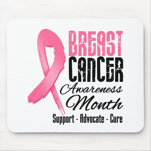 Breast Cancer Awareness Month Grunge Ribbon Mouse Pads