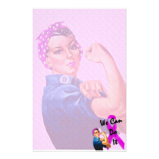 Breast Cancer Awareness Month, Rosie the Riveter Customized Stationery