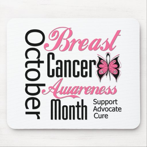 Breast Cancer Awareness Month Script Butterfly Mousepad