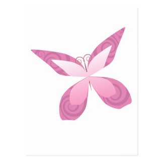 Breast cancer awareness pink butterfly postcard