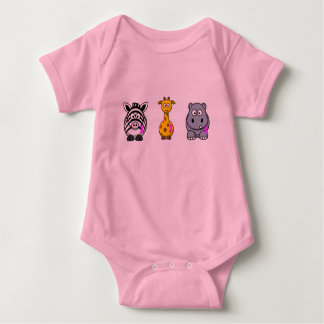 Breast Cancer Awareness Pink Ribbon Animals Baby Bodysuit