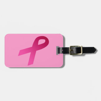 Breast cancer awareness pink ribbon bag tag