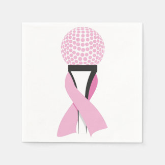 Breast Cancer Awareness Pink Ribbon Golf Ball Paper Napkin