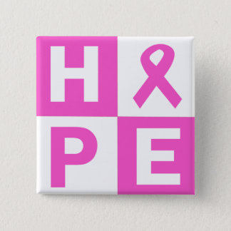 Breast Cancer Awareness Pink Ribbon Hope design 15 Cm Square Badge