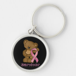 Breast Cancer Awareness pink ribbon keychain
