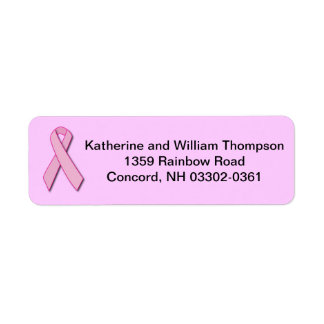 Breast Cancer Awareness Ribbon Return Address Label