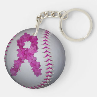 Breast Cancer Awareness Softball Key Ring