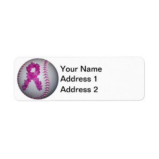 Breast Cancer Awareness Softball Return Address Label