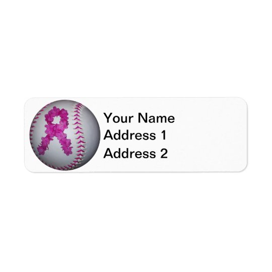 Breast Cancer Awareness Softball Return Address Label