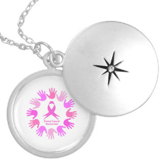 Breast cancer awareness support locket necklace