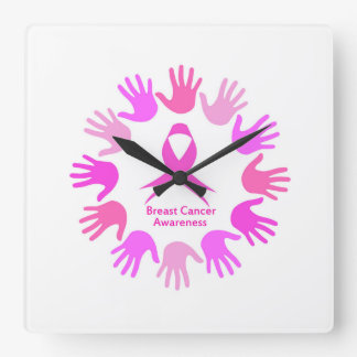Breast cancer awareness support square wall clock