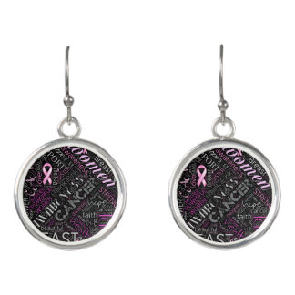 Breast Cancer Awareness Word Cloud ID261 Earrings