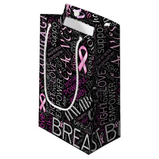 Breast Cancer Awareness Word Cloud ID261 Small Gift Bag