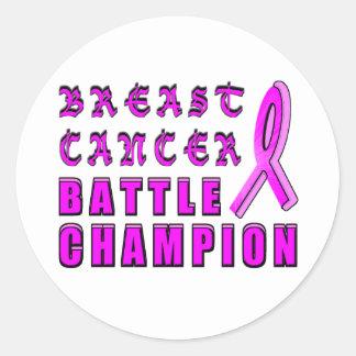 Breast Cancer Battle Champion Round Sticker