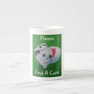breast cancer, bull dog, pink ribbon tea cup