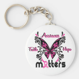 Breast Cancer Butterfly 7 Basic Round Button Key Ring