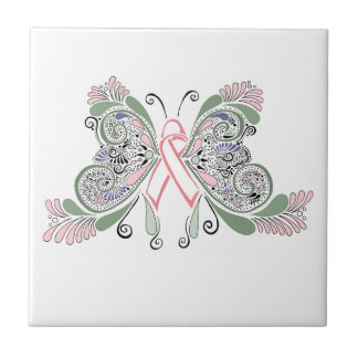 Breast Cancer Butterfly Design Small Square Tile