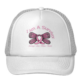 Breast Cancer Butterfly I Am A Survivor Cap