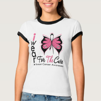 Breast Cancer Butterfly Ribbon For The Cure T-Shirt