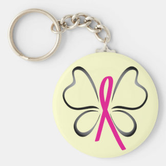Breast Cancer Butterfly Ribbon Keychain