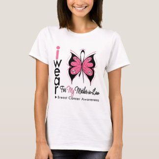 Breast Cancer Butterfly Ribbon Mother in Law T-Shirt