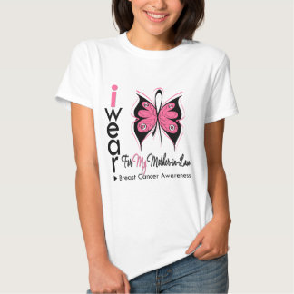 Breast Cancer Butterfly Ribbon Mother in Law T Shirts