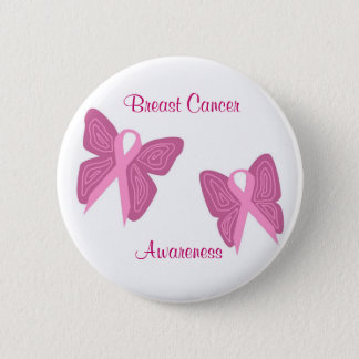 Breast cancer butterfly ribbons button