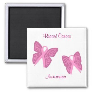 Breast cancer butterfly ribbons magnet