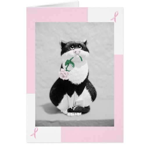 Breast Cancer Card--Cat with Pink Rose