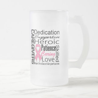 Breast Cancer Caregivers Collage 16 Oz Frosted Glass Beer Mug