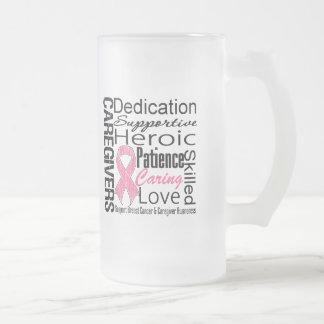 Breast Cancer Caregivers Collage 16 Oz Frosted Glass Beer Mug