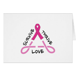 Breast Cancer Celtic Triangle - Survive,Thrive,Lov Card