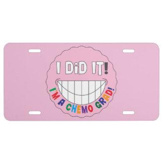 Breast Cancer Chemo Grad - I Did It License Plate