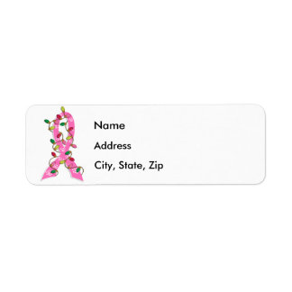 Breast Cancer Christmas Lights Ribbon Return Address Label