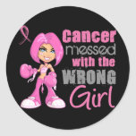 Breast Cancer Combat Girl 1 Round Stickers