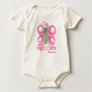 Breast Cancer Cute Butterfly Baby Bodysuit