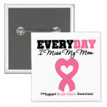 Breast Cancer Every Day I Miss My Mum 15 Cm Square Badge